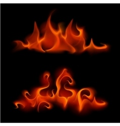 Set of different red scarlet fire flame bonfire vector
