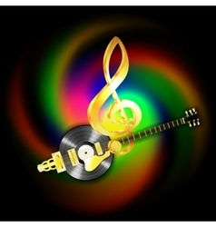 Music string jazz guitar and vinyl records vector