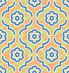 Blue moroccan flowers surface texture print vector