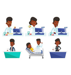 Set of doctor and media characters vector