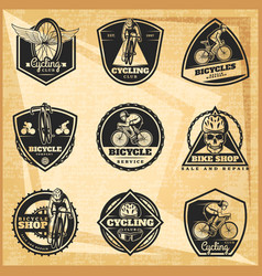 Black biking emblems set vector