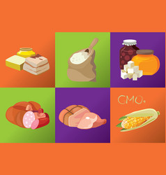Sausages smoked meats simple carbohydrates vector