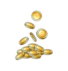 Golden falling coins money vector