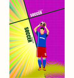 Football player poster colored for designers vector