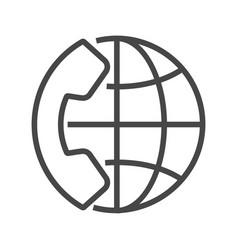 International call thin line icon vector