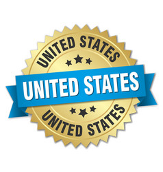 United states round golden badge with blue ribbon vector