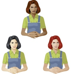 Woman in worker uniform support expert vector