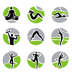 Yoga fitness icons vector