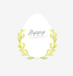 Happy easter greeting card with flowers eggs and vector