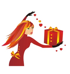 Redhaired girl with a present vector