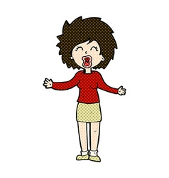 Comic cartoon loud woman vector