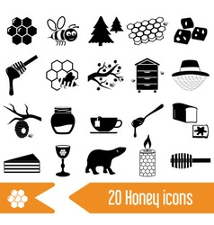 set of honey theme black icons eps10 vector image