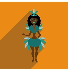 Flat web icon with long shadow brazilian dancer vector