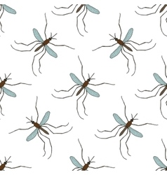 Seamless pattern with mosquitoculex pipiens hand vector