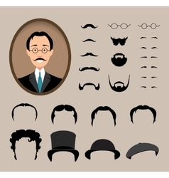 Big set haircuts glasses beard mustache vector