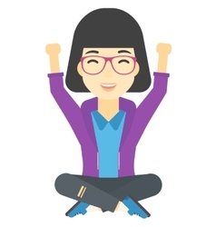 Woman sitting with crossed legs and raised hands vector