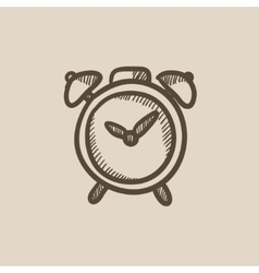 Alarm clock sketch icon vector image