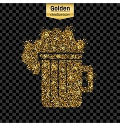 Gold glitter icon of beer isolated on vector