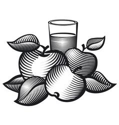 Aplles juice glass vector