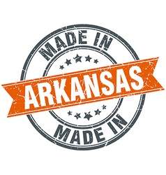 Arkansas orange grunge ribbon stamp on white vector