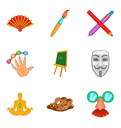 Artwork icons set cartoon style vector