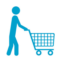 Blue silhouette of pictogram man with shopping vector