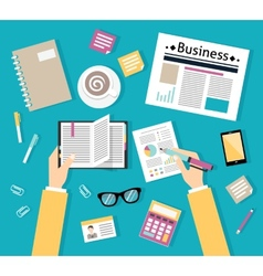 Businessman workplace top view vector image vector image