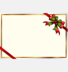 card template with red and green ribbon vector image vector image
