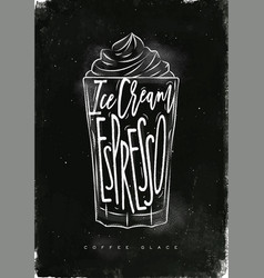 Coffee glace cup chalk vector