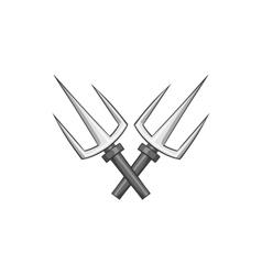 Crossed tridents icon black monochrome style vector