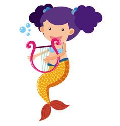 Cute mermaid playing harp vector