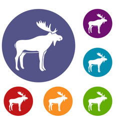 Deer icons set vector