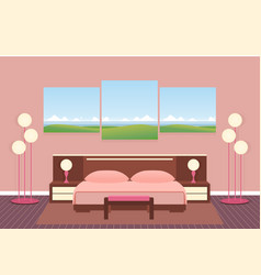 Elegance bedroom interior with furniture lamps vector