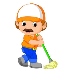 funny cleaning service vector image vector image