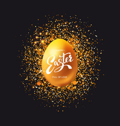 Golden egg with glitter on black vector