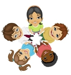 Group of multiracial kids in a circle looking up vector image vector image