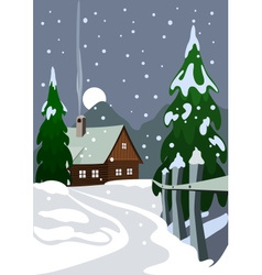House in snow forest vector