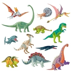 Jurassic period animals set vector