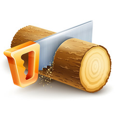 Manual saw cutting wooden vector image vector image