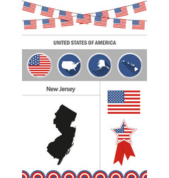 Map of new jersey set of flat design icons vector