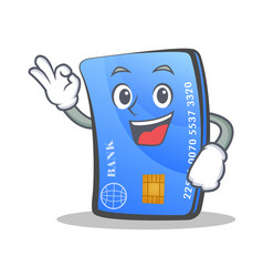 Okay credit card character cartoon vector