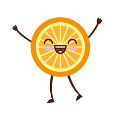 Orange tropical and exotic fruit kawaii character vector