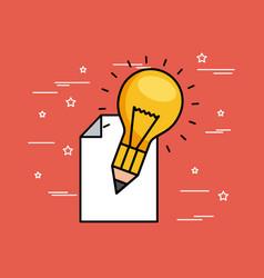 Pencil bulb paper vector
