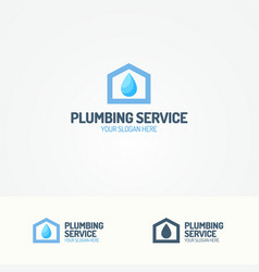 Plumbing service logo with house and water drop vector