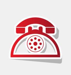 Retro telephone sign new year reddish vector