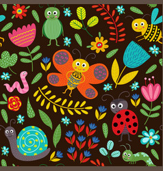 seamless pattern with insect on black background vector image vector image