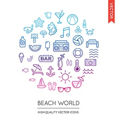 Set of beach modern flat thin icons inscribed in vector