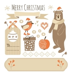Set of cute christmas graphic elements vector image vector image