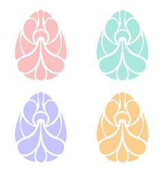 Set of easter egg art on white background vector