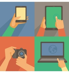 set of flat icons - mobile phone laptop vector image vector image